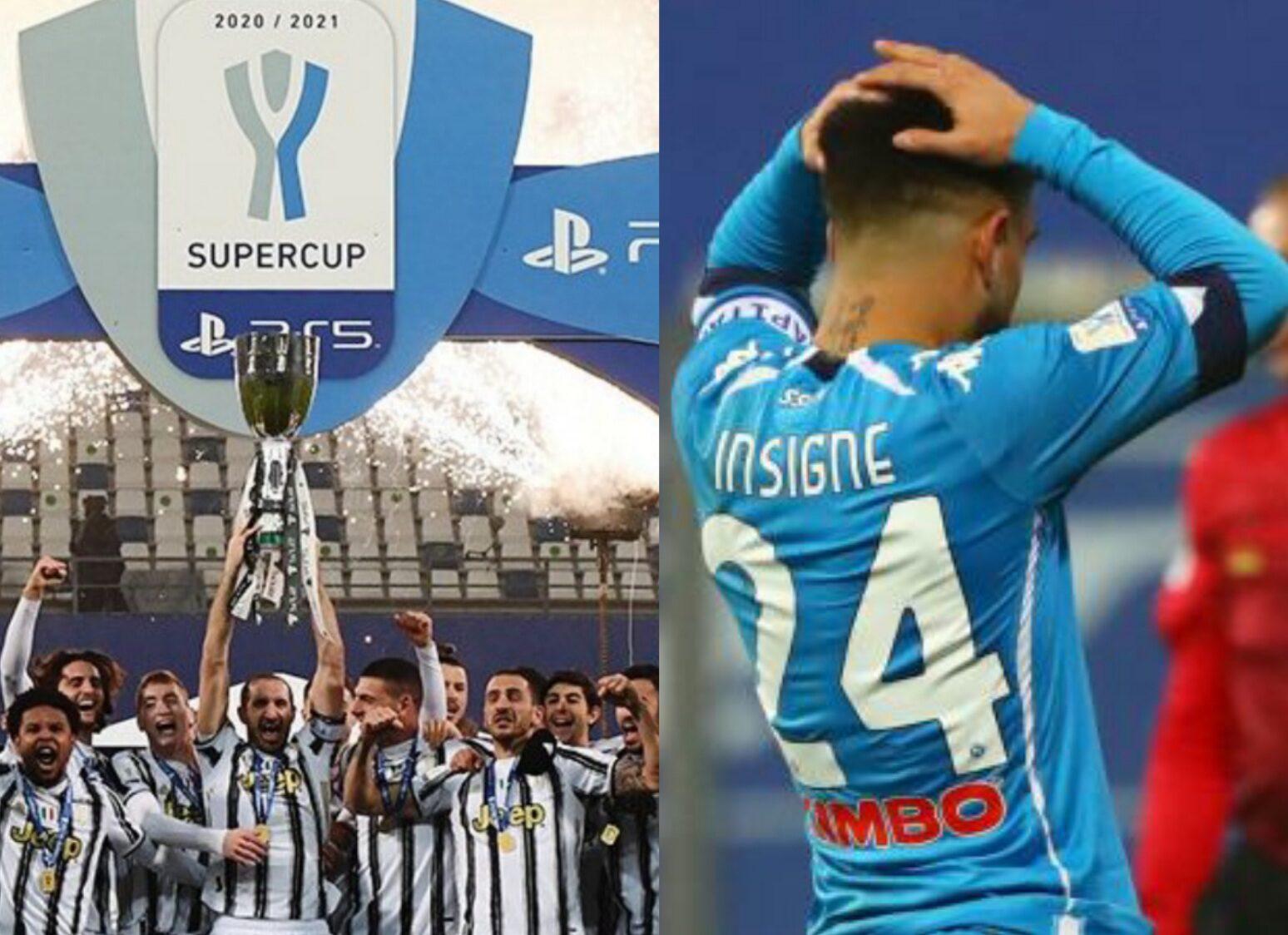 Juventus-Napoli 2-0, Supercoppa ai bianconeri, Insigne sbaglia un rigore